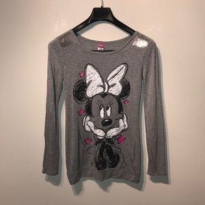 2/ $10 Minnie mouse gray long sleeve